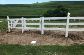 3 Rail White Vinyl Fence with Gothic Caps