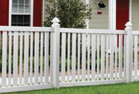 Brewster Vinyl Fence with Gothic Caps