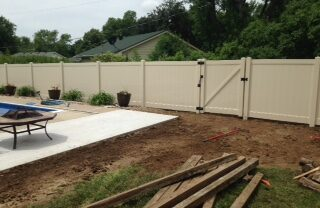 Lakeland Almond Vinyl Fence